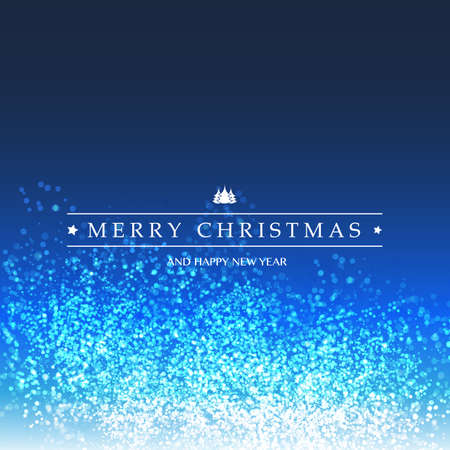 Merry Christmas - Colorful Modern Style Happy Holidays Greeting Card on Sparkling Bright Blurred Background
