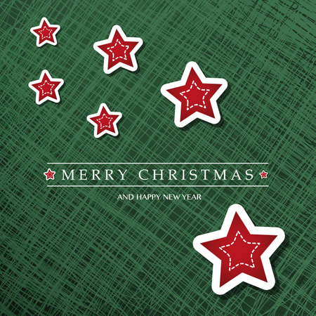 Merry Christmas - Colorful Modern Style Happy Holidays Greeting Card with Label and Red Stars on Abstract Background Ilustração