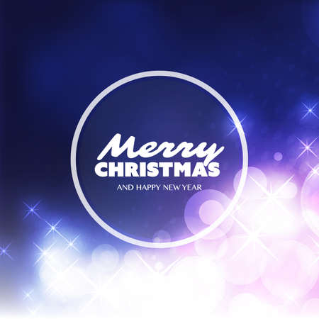 efectos especiales: Merry Christmas - Colorful Modern Style Happy Holidays Greeting Card Design with Round Transparent Label on Sparkling Bright Blurred Background
