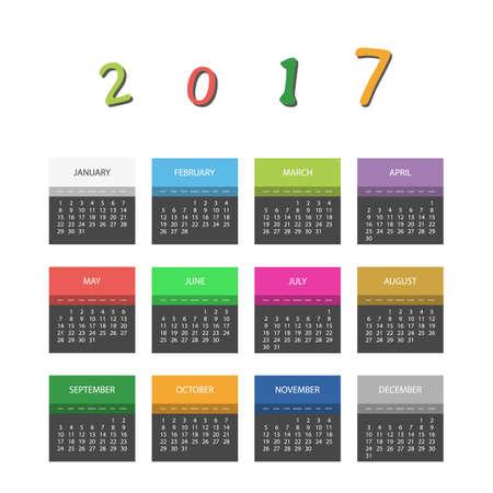 毎月ごとに異なる色で 2017年カラフルなカレンダーのデザイン