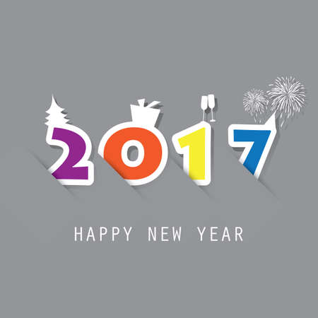 best background: Best Wishes - Simple Colorful New Year Card, Cover or Background Design Template - 2017