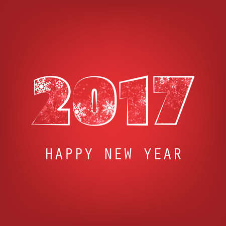 Simple White And Red New Year Card, Cover or Background Design Template - 2017