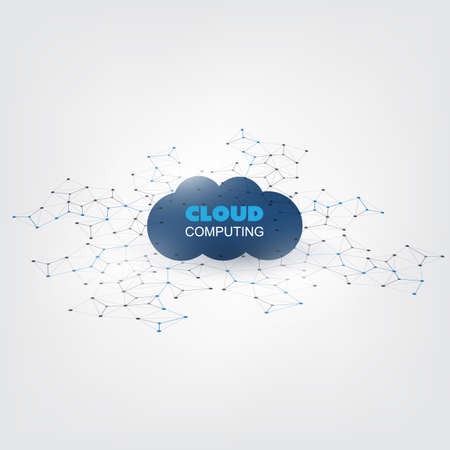cloud network: Cloud Computing Design Concept - Digital Network Connections, Technology Background