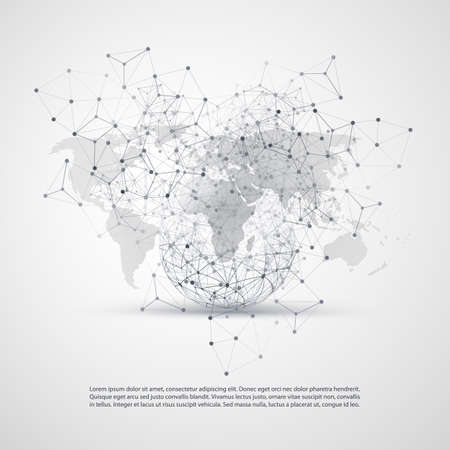 Cloud Computing and Networks Concept with World Map - Global Digital Network Connections, Technology Background, Creative Design Template with Transparent Geometric Grey Wire Mesh Ilustrace
