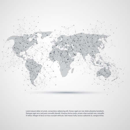 Cloud Computing and Networks with World Map - Abstract Global Digital Network Connections, Technology Concept Background, Creative Design Element Template with Transparent Geometric Grey Wire Mesh Vettoriali