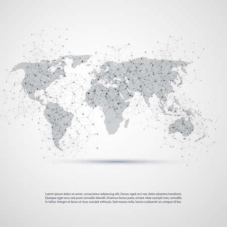 Cloud Computing en netwerken met World Map - Abstract Global Digital Network Connections, technologie concept, Creative Design Template met transparante Geometric Gray Wire Mesh Element