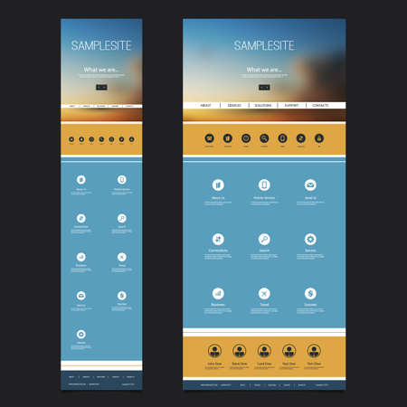 mobile website: Responsive One Page Website Template with Blurred Background - Sunset Sky Header Design - Desktop and Mobile Version