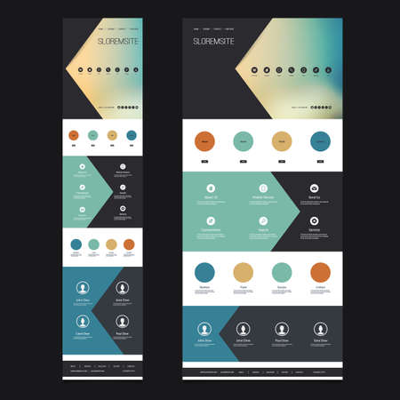 Responsive One Page Vector Website Template with Blurred Background - Desktop and Mobile Version Illustration