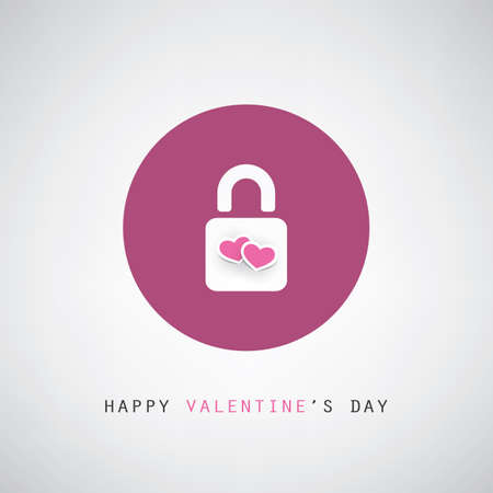 wedding day: Valentines Day or Wedding Card Design with Padlock