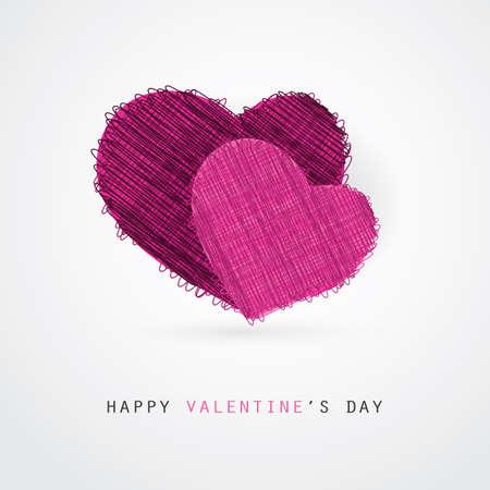 bright color: Two Purple Hearts - Valentines Day Card Vector Design Illustration