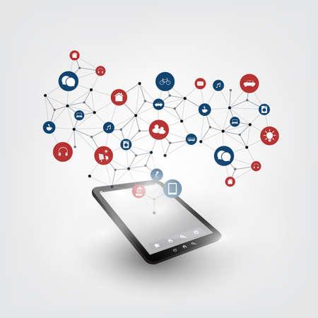 koncepció: Színes tárgyak internete Design Concept ikonok - Digital Network Connections, technológiák háttér