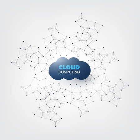 home icon: Cloud Computing Design Concept - Digital Network Connections, Technology Background