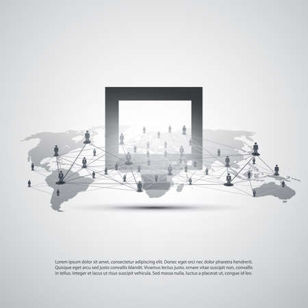 Cloud Computing and Networking Concept, Global Digital Network, Technology Background, Creative Design Template with Business Connections, World Map