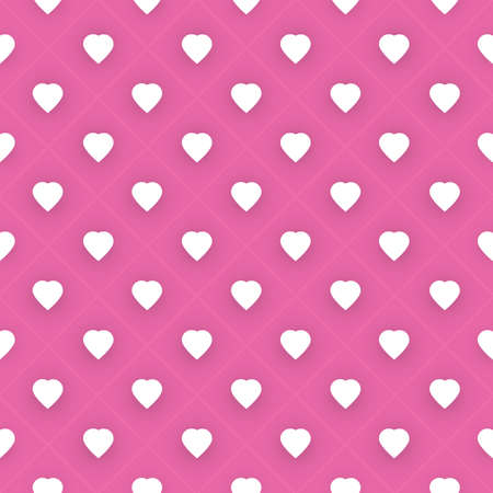 hearts background: Abstract Seamless White and Purple Hearts Pattern - Valentines Day Card or Background Vector Design Illustration