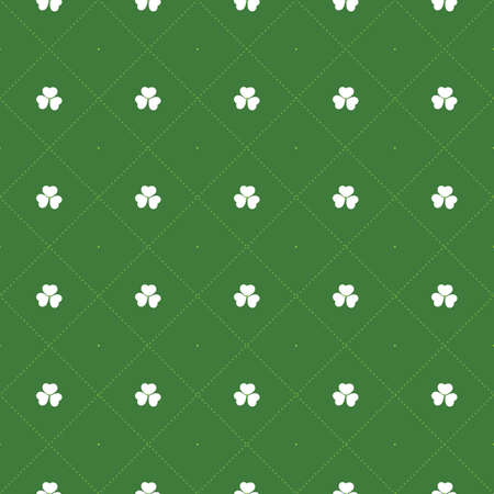 Abstract Seamless White and Green Shamrock Pattern - Saint Patrick's Day Card or Background Vector Design 矢量图像