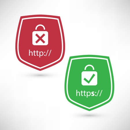 Website Certificate Badges - Secure and Insecure Network Connection Illustration