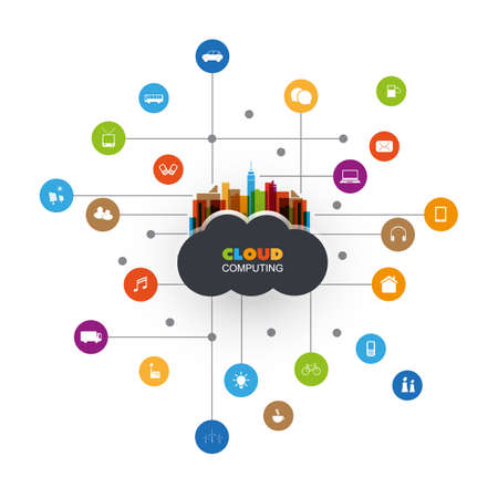 Colorful Cloud Computing Design Concept with Icons - Digital Network Connections, Technology Background Illustration