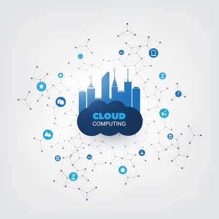 Cloud Computing Design Concept with Icons - Digital Network Connections, Technology Background Vettoriali