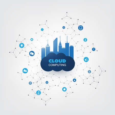 La computación en nube concepto de diseño con los iconos - Conexiones de red digital, fondo de la tecnología Ilustración de vector
