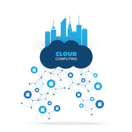 cloud network: Cloud Computing Design Concept with Icons - Digital Network Connections, Technology Background Illustration