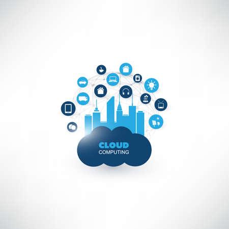 Cloud Computing Design Concept con icone - Connessioni di rete digitale, Sfondo Tecnologia Vettoriali
