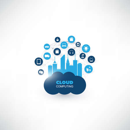 Cloud Computing Design Concept with Icons - Digital Network Connections, Technology Background Vetores