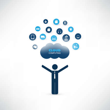 Cloud Computing Design Concept with a Standing Business Man and Icons - Digital Network Connections, Technology Background