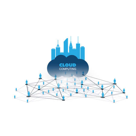 cloud technology: Cloud Computing Design Concept with Icons and Network Frame - Digital Network Connections, Technology Background Illustration