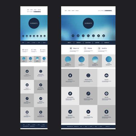 Responsive One Page Website Template with Blurred Header Background Design - Desktop and Mobile Version Illustration