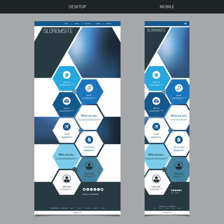 version: One Page Website Template with Blue Blurred Header Background Design, Hexagonal Pattern - Desktop and Mobile Version