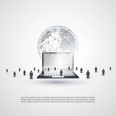 Cloud Computing en Networking Concept, Global Digital Network, Technologie Achtergrond, Creatief Ontwerp Template Met Bedrijfsverbindingen, Transparante Geometrische Grijze Wireframe Sphere
