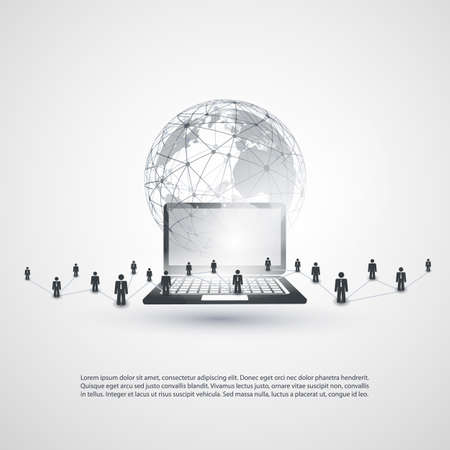 Cloud Computing and Networking Concept, Global Digital Network, Technology Background, Creative Design Template with Business Connections, Transparent Geometric Grey Wireframe Sphere