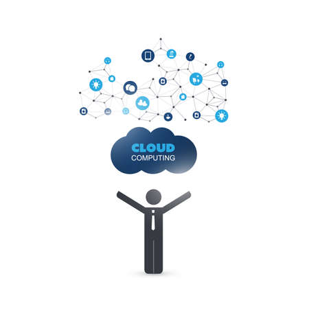 cloud network: Cloud Computing Design Concept with a Standing Business Man and Icons - Digital Network Connections, Technology Background