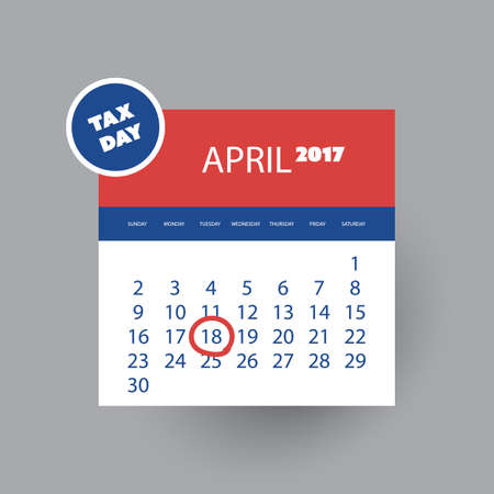 reckoning: US Tax Day Icon - Calendar Design Template 2017 Illustration