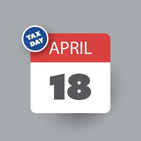 USA Tax Day Icon - Calendar Design Template 2017 Vetores