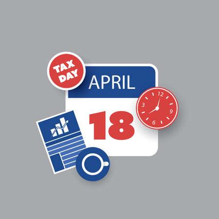USA Tax Day Reminder Concept - Calendar Design Template 2017 Illustration