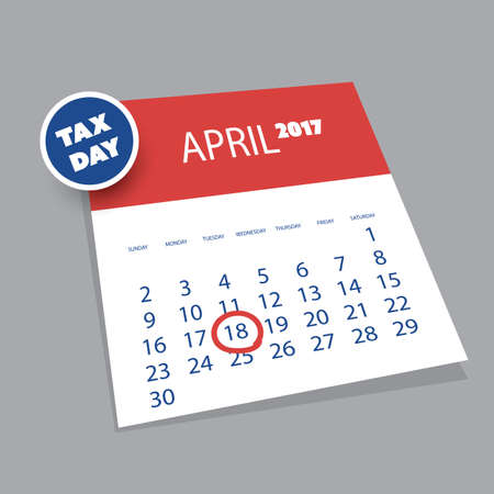 reckoning: USA Tax Day Icon - 3D Calendar Design Template 2017