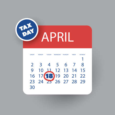 reckoning: USA Tax Day Icon - Calendar Design Template 2017