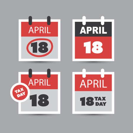 USA Tax Day Reminder Concept - Calendar Design Template 2017 Royalty ...