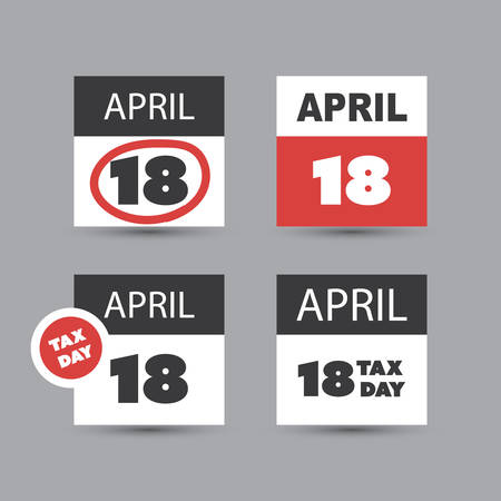 reckoning: Set of USA Tax Day Icons - Calendar Design Templates 2017