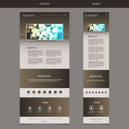 responsive design: Responsive One Page Website Template with Blurred Background - Bubbly Patterned Header Illustration