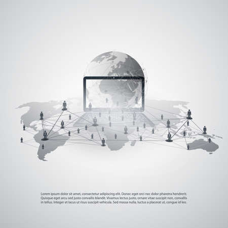 Abstract Cloud Computing and Global Network Connections Concept Design with World Map and Notebook Illustration
