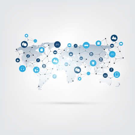 Internet of Things, Cloud Computing Design with Icons - Connexions réseau numériques, Concept technologique.