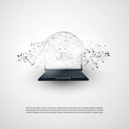 grey background: Abstract Cloud Computing and Global Network Connections Concept Design with Transparent Geometric Mesh and Notebook