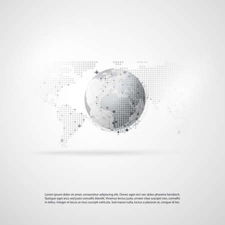 global design: Network Communication Concept with World Map - Global Resources, Business or Technology Design