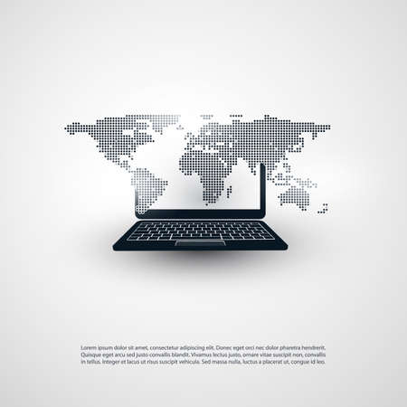 global design: Abstract Global Networks Design with Laptop and Spotted World Map Illustration