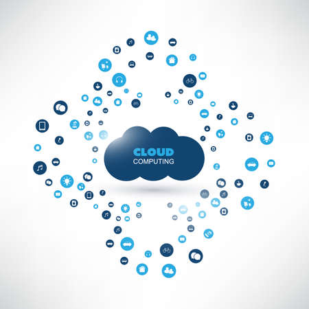 private server: Cloud Computing Design Concept with Icons - Digital Network Connections, Technology Concept