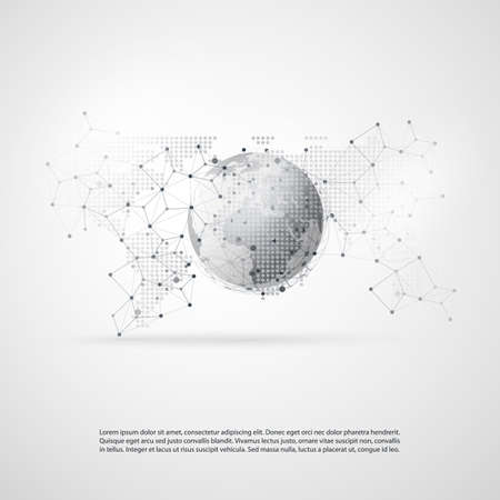 globalism: Abstract Cloud Computing and Global Network Connections Concept Design with Transparent Geometric Mesh, Earth Globe