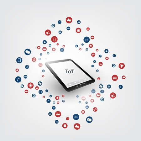 Colorful Internet of Things Design with Icons - Digital Networks, Smart Devices, Communication Concept Illustration