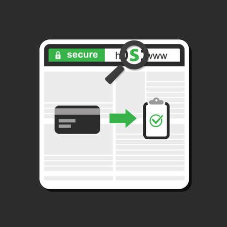 HTTPS Protocol - Veilig en veilig browsen, bankieren en winkelen Stock Illustratie